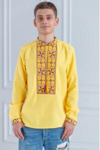 Мужская вышиванка «Феерия» желтого цвета