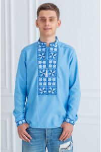 Мужская вышиванка «Феерия» голубого цвета