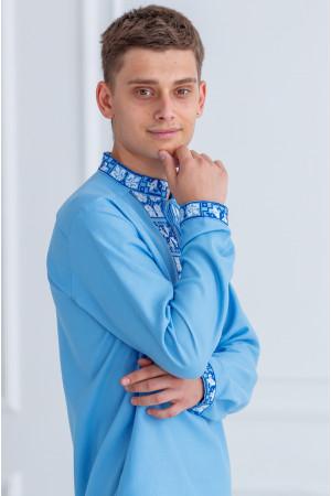 Чоловіча вишиванка «Феєрія» блакитного кольору