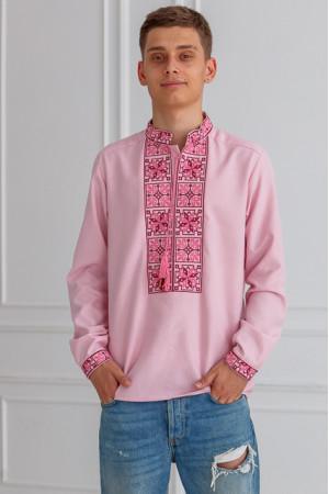 Мужская вышиванка «Феерия» розового цвета