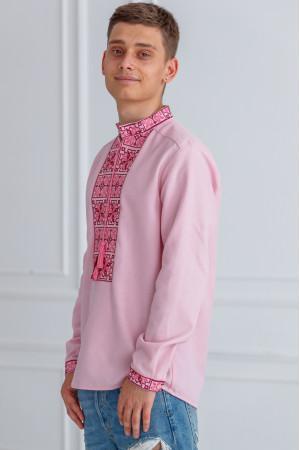 Чоловіча вишиванка «Феєрія» рожевого кольору
