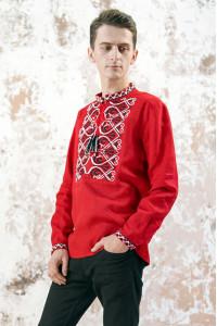 Чоловіча вишиванка «Фортуна» червоного кольору