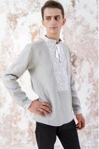 Мужская вышиванка «Жар-птица» серого цвета