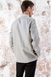 Чоловіча вишиванка «Жар-птиця» сірого кольору