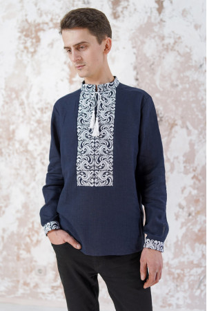 Мужская вышиванка «Жар-птица» темно-синего цвета