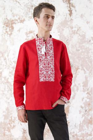 Мужская вышиванка «Жар-птица» красного цвета