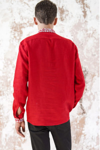 Чоловіча вишиванка «Жар-птиця» червоного кольору