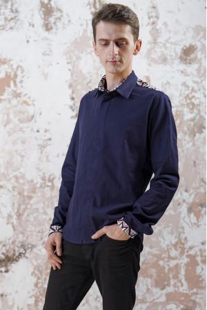 Мужская вышиванка «Роскошь» темно-синего цвета