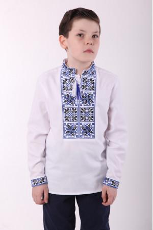 Вышиванка для мальчика «Феерия» с сине-черным орнаментом