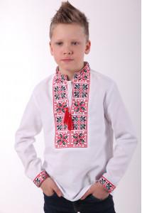 Вышиванка для мальчика «Феерия» с красно-черным орнаментом