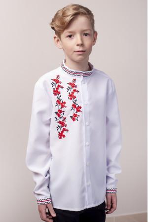 Вишиванка для хлопчика «Квітковий дует» білого кольору