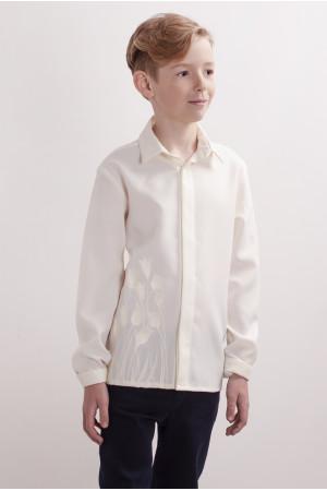 Вышиванка для мальчика «Тюльпановое поле» молочного цвета