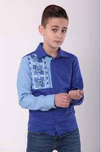 Вишиванка для хлопчика «Райдуга» синього кольору