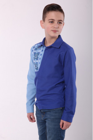 Вышиванка для мальчика «Радуга» синего цвета