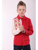 Вышиванка для мальчика «Радуга» красного цвета