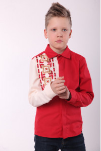 Вишиванка для хлопчика «Райдуга» червоного кольору