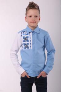 Вышиванка для мальчика «Радуга» голубого цвета