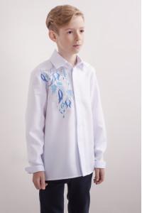 Вишиванка для хлопчика «Завитки» білого кольору