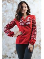 Вышиванка «Цветочный орнамент» красного цвета