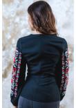 Вишиванка «Квітковий орнамент» чорного з червоним кольору