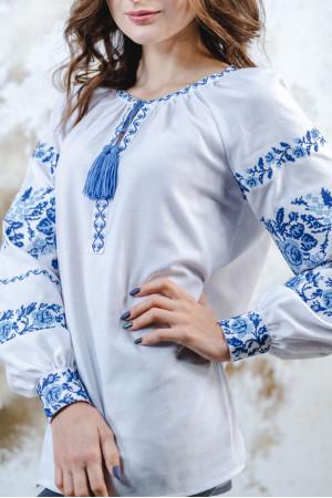 Вишиванка «Трояндова доріжка» білого з синім кольору