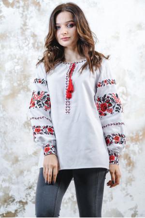 Вишиванка «Трояндова доріжка» білого з червоним кольору