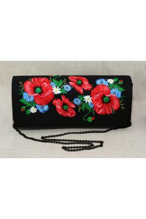 Вишитий клатч «Квітуче поле» чорного кольору