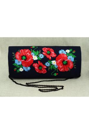 Вишитий клатч «Квітуче поле» синього кольору