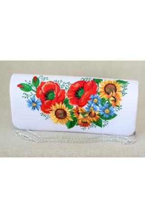 Вышитый клатч «Украинский букет» белого цвета