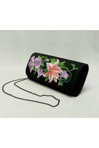 Вышитый клатч «Лилия» черного цвета