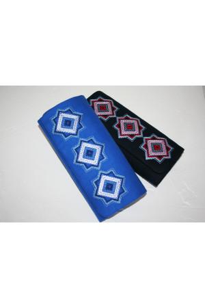 Вышитый клатч «Мотивы геометрии» синего цвета