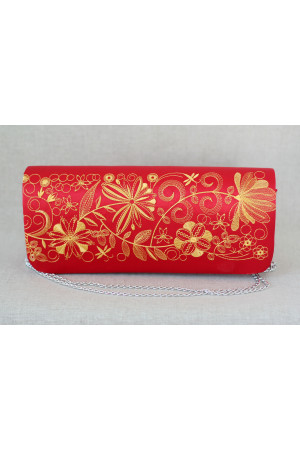 Вишитий клатч «Романтика» червоного кольору з золотим