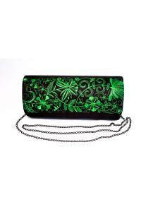 Вышитый клатч «Романтика» зеленого цвета