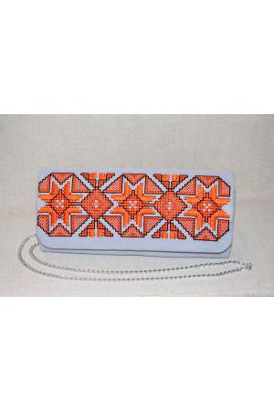 Вишитий клатч «Розкіш» сірого кольору з оранжевим