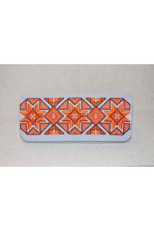 Вышитый клатч «Роскошь» серого цвета с оранжевым
