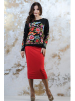 Костюм «Сказочный мир»: свитшот черного цвета и юбка красного цвета