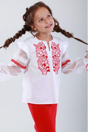Вышиванка для девочки «Восхитительное мгновение» с красной вышивкой