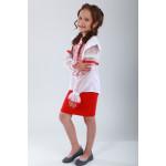 Вишиванка для дівчинки «Захоплююча мить» з червоною вишивкою
