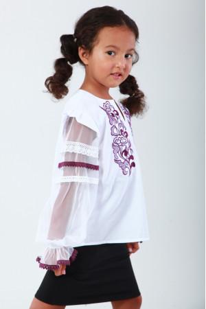 Вышиванка для девочки «Восхитительное мгновение» с фиолетовой вышивкой