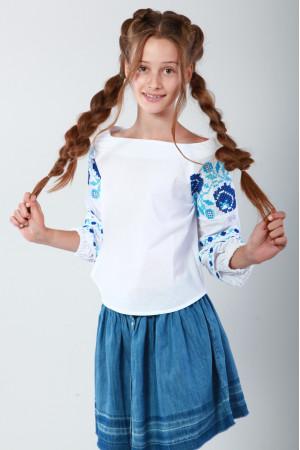 Вишиванка для дівчинки «Чарівність» з блакитною вишивкою