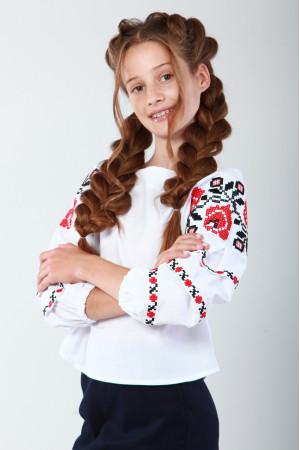 Вишиванка для дівчинки «Чарівність» з червоною вишивкою