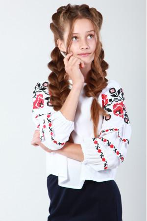 Вышиванка для девочки «Очарование» с красной вышивкой
