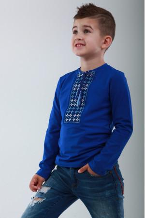 Футболка для мальчика «Цветная» синего цвета
