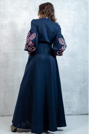 Платье-халат «Марево ночи» темно-синего цвета