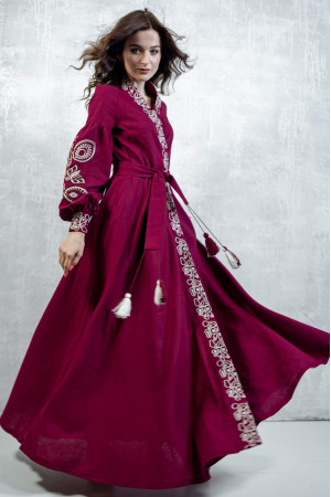 Платье-халат «Марево ночи» вишневого цвета