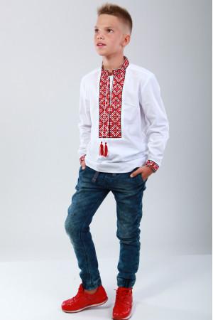 Вышиванка для мальчика «Полонина» с красным  орнаментом