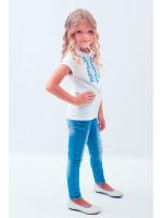 Футболка для дівчинки «Трояндова доріжка» з синьою вишивкою