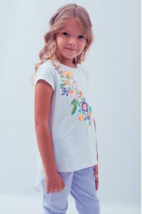 Футболка для дівчинки «Весняна» з фіолетовою вишивкою