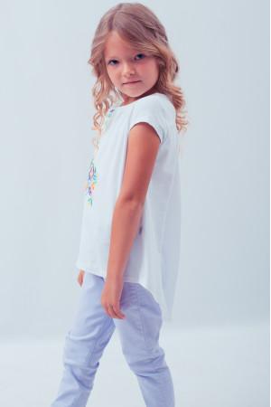 Футболка для девочки «Весенняя» с фиолетовой вышивкой