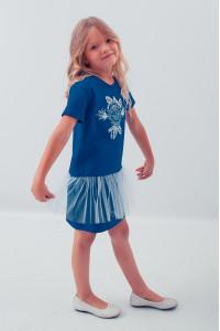 Платье для девочки «Улыбка розы» синего цвета с сеточкой